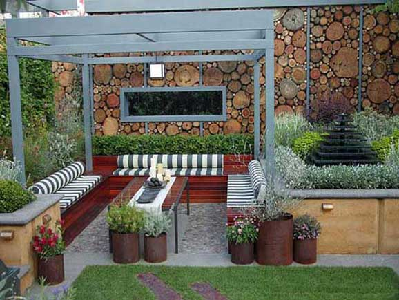 amenajare gradini moderne cu foisor si loc sedere