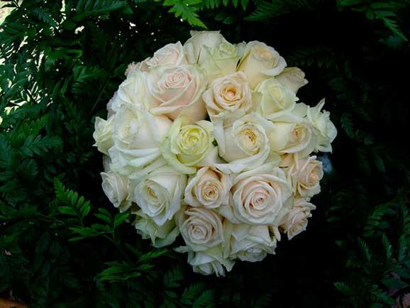 Buchet de mireasa din trandafiri albi