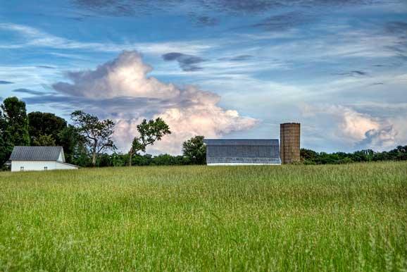 Peisaj de vara cu un cer albastru superb